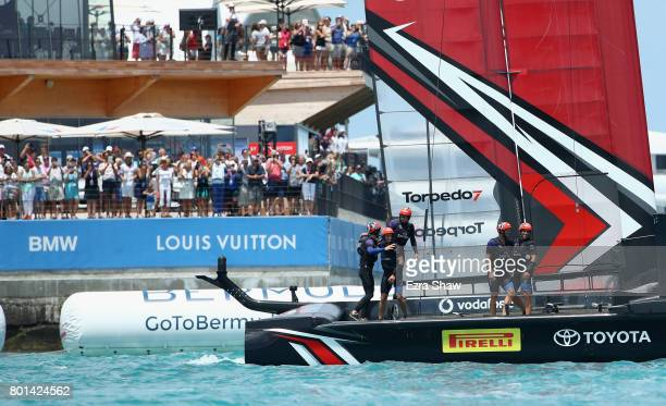 Emirates Team New Zealand celebrates after they beat ORACLE TEAM USA to win the America's Cup Match Presented by Louis Vuitton on June 26 2017 in...