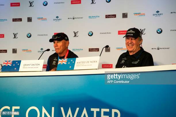 Emirates Team New Zealand CEO Grant Dalton and Team Principal Matteo de Nora at the final press conference as winners of the America's Cup June 26...