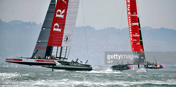 Emirates Team New Zealand competes against Luna Rossa Challenge during the second finals race of the Louis Vuitton Cup in San Francisco California on...