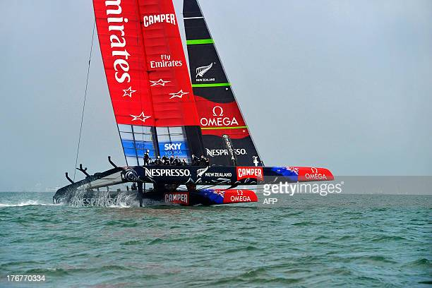 Emirates Team New Zealand expands its lead against Luna Rossa Challenge after the start of the second finals race of the Louis Vuitton Cup in San...