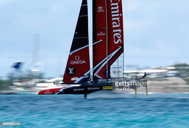 Emirates Team New Zealand helmed by Peter Burling in action during day 1 of the America's Cup Match Presented by Louis Vuitton on June 17 2017 in...