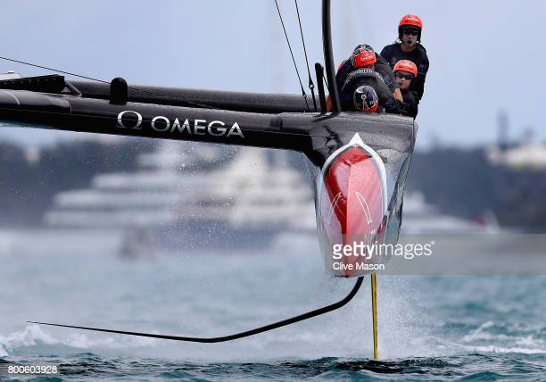 Emirates Team New Zealand helmed by Peter Burling in action racing against Oracle Team USA skippered by Jimmy Spithill on day 3 of the Americas Cup...