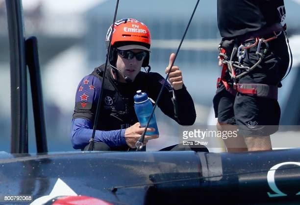 Emirates Team New Zealand helmsman Peter Burling gives the thumbs up after beating ORACLE TEAM USA skippered by Jimmy Spithill in race 8 on day 4 of...