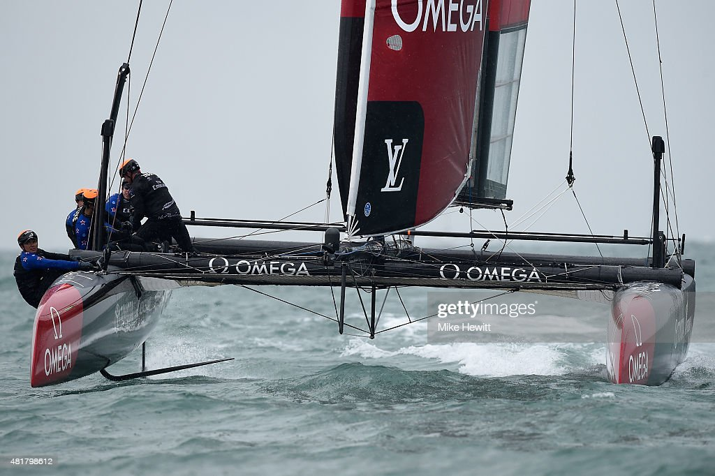 Emirates Team New Zealand in action during a trial race on Day Two of the Louis Vuitton America's Cup World Series on July 24, 2015 in Portsmouth, England.