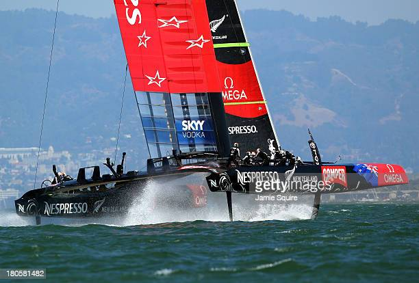 Emirates Team New Zealand in action during race 8 of the America's Cup Finals against Oracle Team USA on September 14 2013 in San Francisco California