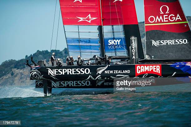 SAN FRANCISCO USA SEPTEMBER 02 Emirates Team New Zealand out truing on the bay after making modifications to their boat and aft wing spoilers The...