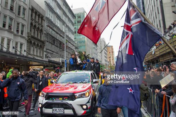 Emirates Team New Zealand parades the America's Cup through the streets of Auckland on July 6 2017 Team New Zealand celebrated America's Cup victory...