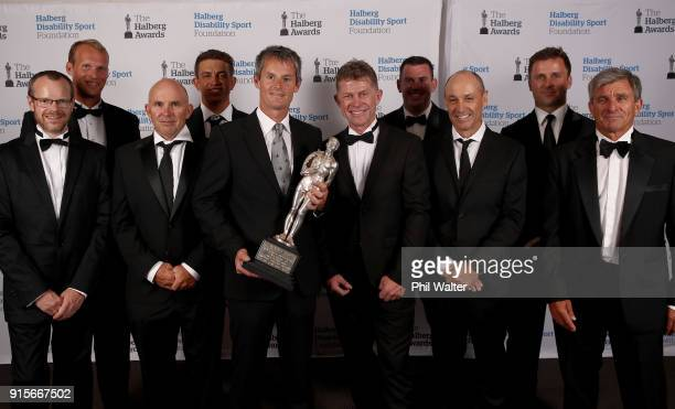 Emirates Team New Zealand pose with the Halberg Award during the 55th Halberg Awards at Spark Arena on February 8 2018 in Auckland New Zealand