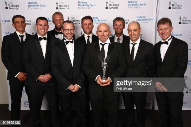 Emirates Team New Zealand pose with the Halberg Team of the Year award at the 55th Halberg Awards at Spark Arena on February 8 2018 in Auckland New...