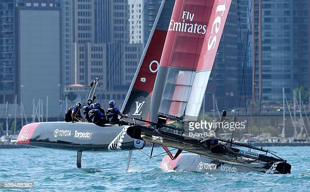 Emirates Team New Zealand sails during Day 1 of the Louis Vuitton America's Cup World Series Race on June 11 2016 in Chicago Illinois