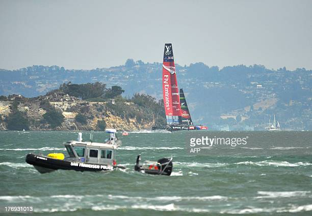 Emirates Team New Zealand sails their AC72 during the third race of the Louis Vuitton Cup in San Francisco California on August 19 2013 AFP...
