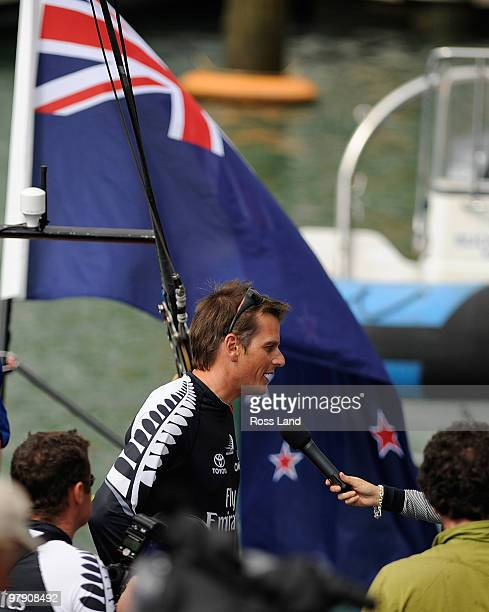 Emirates Team New Zealand Skipper Dean Barker speaks to media following his teams win over Mascalzone Latino Audi Team from Italy to win the Louis...
