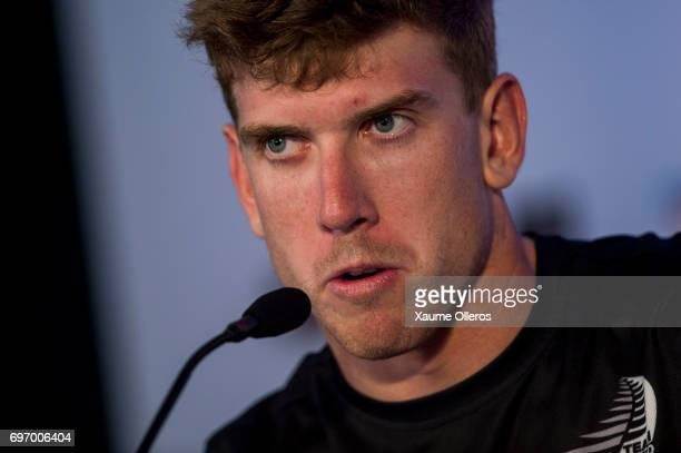 Emirates Team New Zealand skipper Peter Burling attends press conference after day one of the America's Cup Finals on June 17 2017 in Hamilton Bermuda