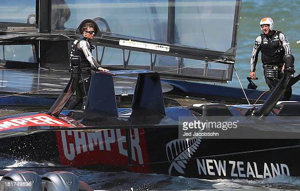 Emirates Team New Zealand skippered by Dean Barker after loosing to Oracle Team USA skippered by James Spithill during race 17 of the America's Cup...