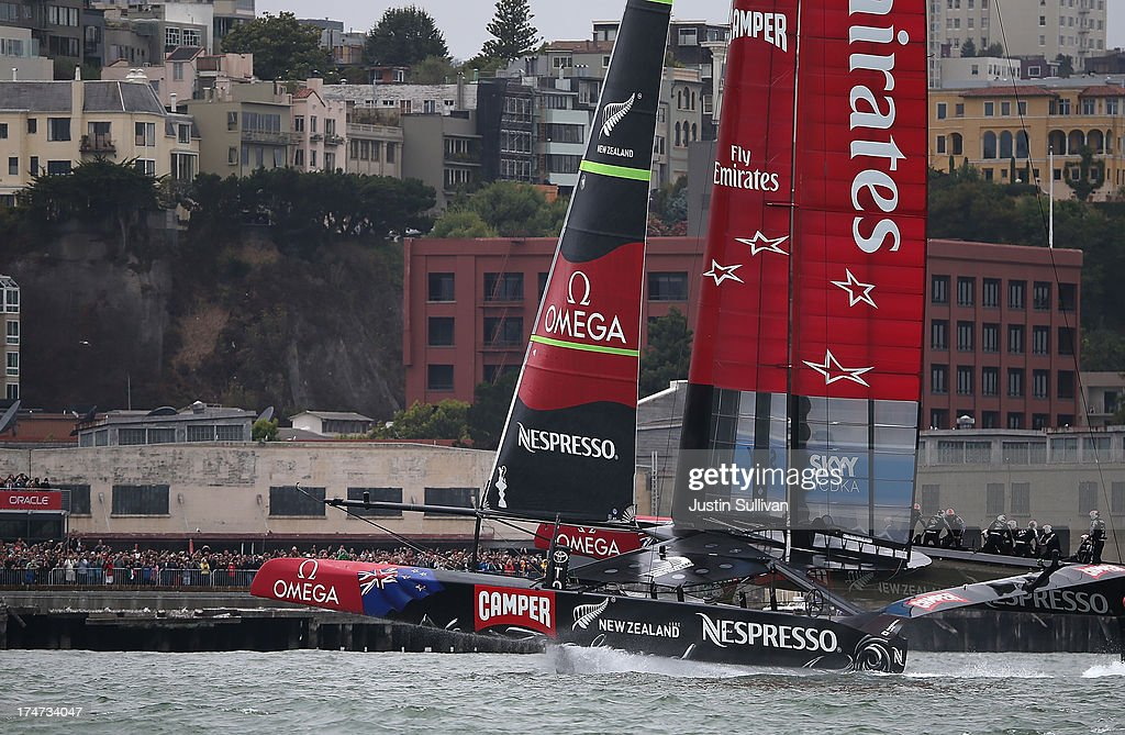 Emirates Team New Zealand skippered by Dean Barker in action against Team Luna Rossa Challenge prepares to cross the finish line during the Louis Vuitton Cup Round Robin 5 on July 28, 2013 in San Francisco, California. The winner of the Louis Vuitton Cup goes on to race against Oracle Team USA in the America's Cup Finals that start on September 7. Emirates Team New Zealand won the race.
