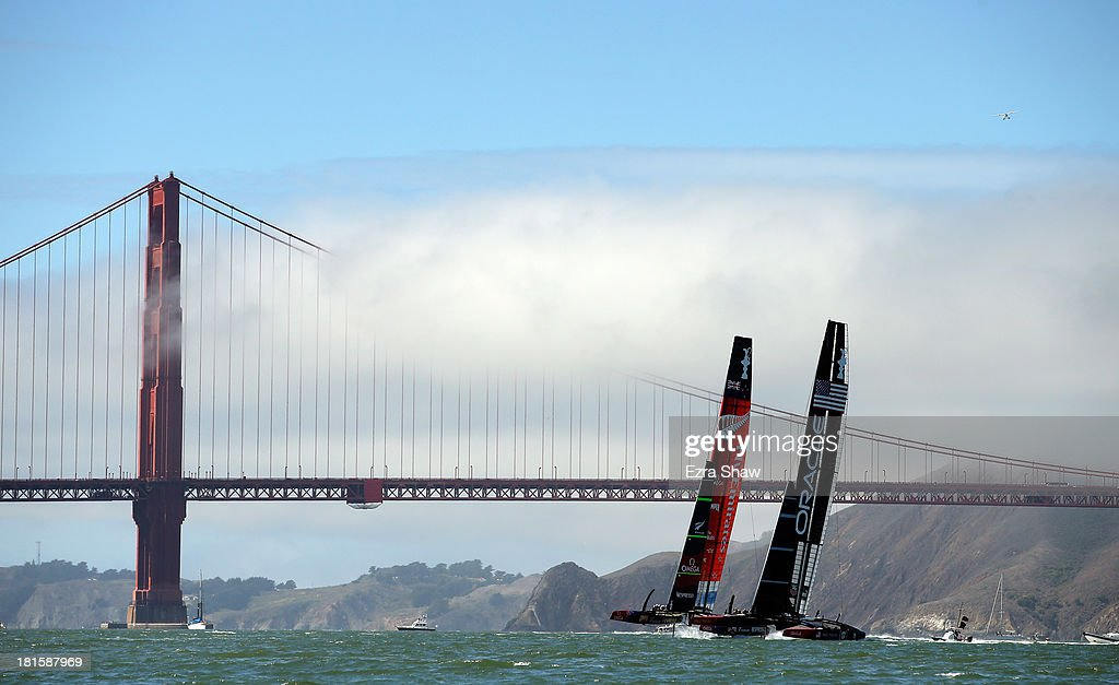 Emirates Team New Zealand skippered by Dean Barker in action against Oracle Team USA skippered by James Spithill during race 14 of the America's Cup Finals on September 22, 2013 in San Francisco, California. Oracle Team USA won both race 14 and 15 today.