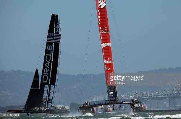 Emirates Team New Zealand skippered by Dean Barker in action against Oracle Team USA skippered by James Spithill in race 17 of the America's Cup...