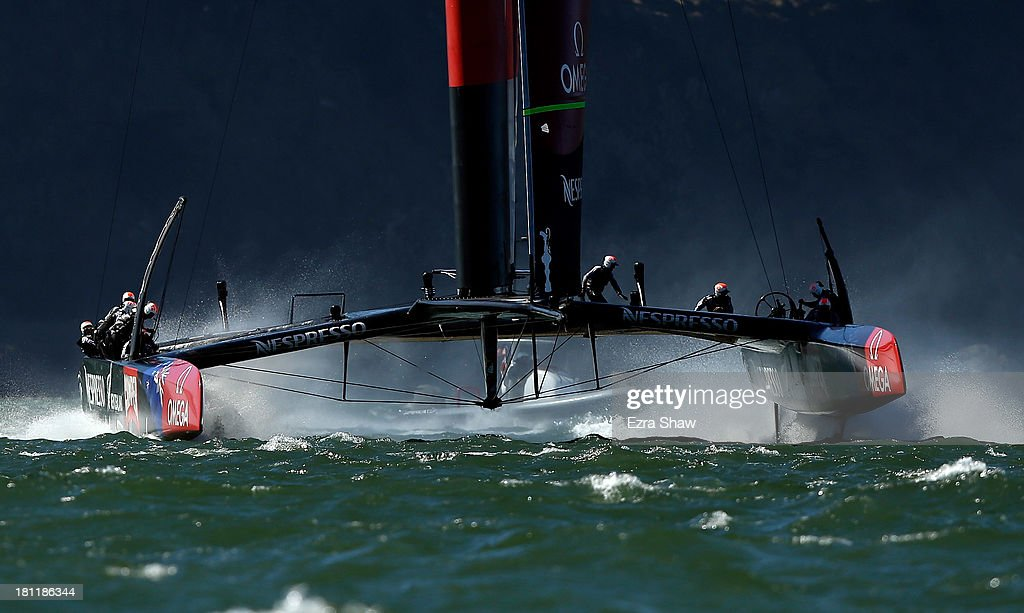 Emirates Team New Zealand skippered by Dean Barker practices after race 12 against Oracle Team USA in the America's Cup Finals on September 19, 2013 in San Francisco, California. Oracle Team USA won race 12 and race 13 was postponed due to high winds.