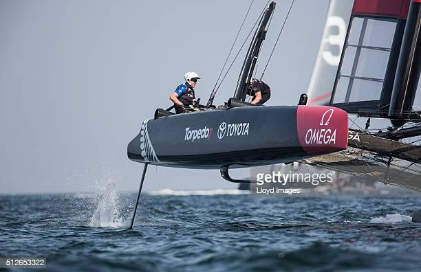 Emirates Team New Zealand skippered by Glenn Ashby of Australia and helmed by Peter Burling of New Zealandracing during the first day of racing close...