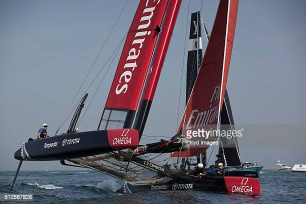 Emirates Team New Zealand skippered by Glenn Ashby shown here racing in a training session prior to the start of 35th America's Cup Louis Vuitton...