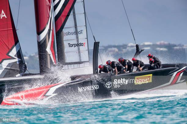 TOPSHOT Emirates Team New Zealand skippered by Peter Burling competes in the 35th America's Cup May 27 2017 on Bermuda's Great Sound / AFP PHOTO /...