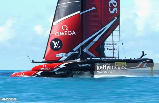 Emirates Team New Zealand skippered by Peter Burling in action during a training session ahead of the Americas Cup Match Presented by Louis Vuitton...
