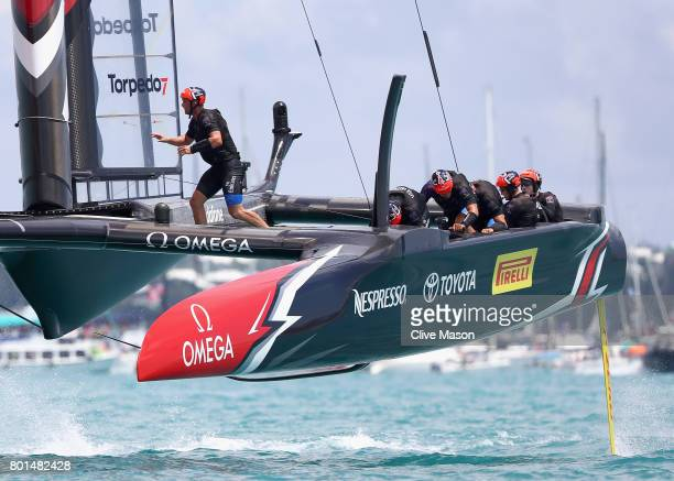 Emirates Team New Zealand skippered Dean Barker in action during race 9 on day 5 of the America's Cup Match Presented by Louis Vuitton on June 26...