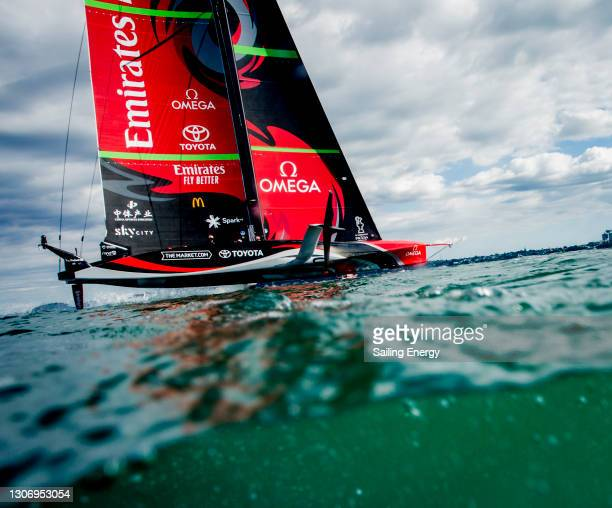 Emirates Team New Zealand warms up before the America's Cup Race 7 gets cancelled between Emirates Team New Zealand and Luna Rossa Prada Pirelli Team...