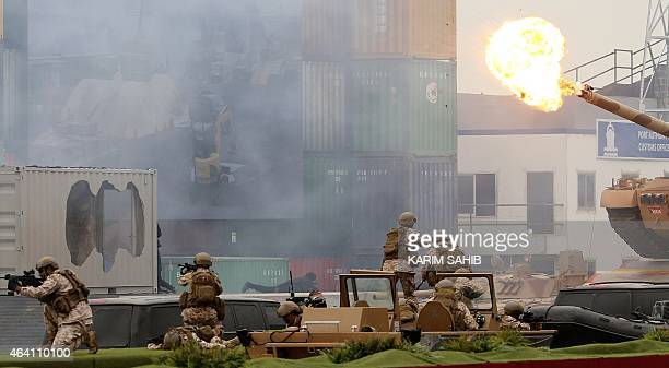 Emirati armed forces show their skills during a military show at the opening of the International Defence Exhibition and Conference at the Abu Dhabi...