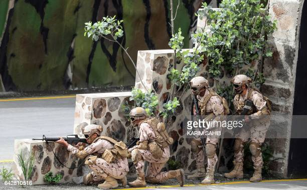 Emirati armed forces show their skills during a military show at the opening of the International Defence Exhibition and Conference in the Emirati...