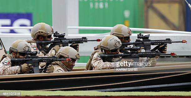 Emirati armed forces take part in a military show at the opening of the International Defence Exhibition and Conference at the Abu Dhabi National...
