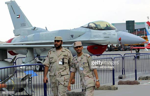 Emirati army exhibitors are seen prior to the opening of the Dubai Air Show 19 November 2005 Dubai will host the major air exhibition amid relentless...
