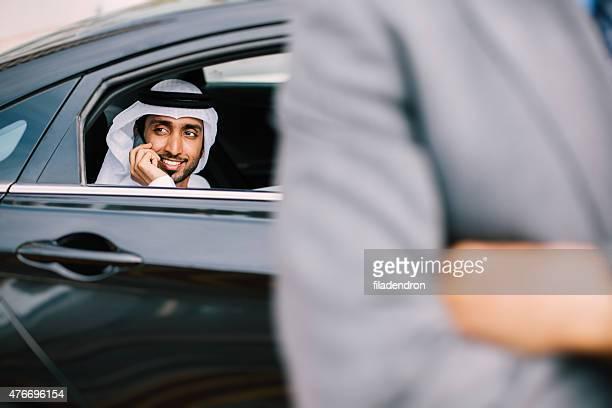 Emirati businessman talking on the phone