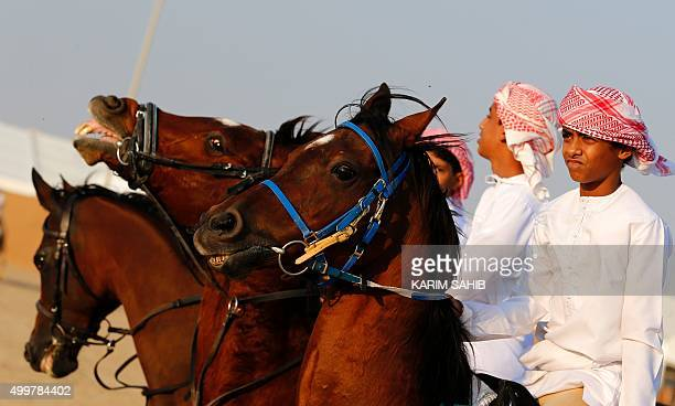 Emirati children ride horses during the 2015 Sheikh Zayed Heritage Festival in the capital Abu Dhabi as part of celebrations marking the United Arab...