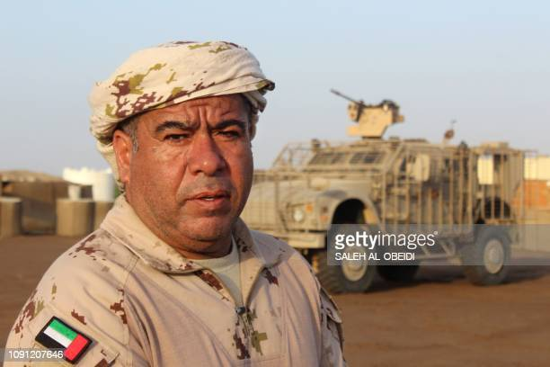 Emirati commander of the Saudi-backed coalition forces on Yemen's west coast frontline, Colonel Saeed Salmeen, is pictured at a military base in...