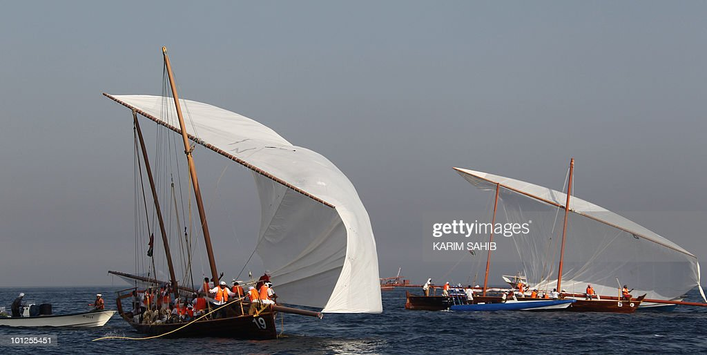 Emirati competitors prepare to sail in the Gulf during the Al-Gaffal 60 ft traditional dhow sailing race between the island of Sir Bu Nair, near the Iranian coast, and the Gulf emirate of Dubai on May 29, 2010.