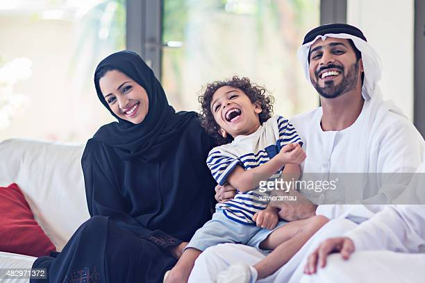 emirati family portrait - gulf countries stock pictures, royalty-free photos & images