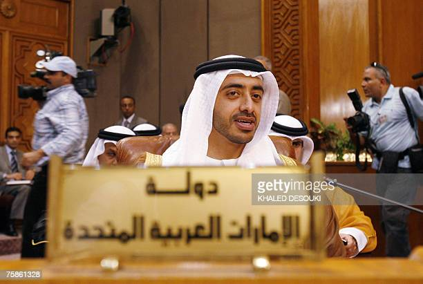 Emirati Foreign Minister Abdullah bin Zayed alNahayan attends the opening session of an Arab League emergency meeting in Cairo 30 July 2007 Arab...