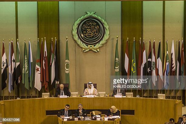 Emirati Foreign Minister Sheikh Abdullah bin Zayed alNahyan Arab League chief Nabil alArabi and Arab League deputy Ahmed bin Helli attend an...
