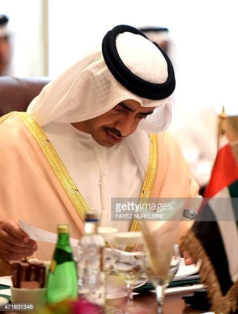 Emirati Foreign Minister Sheikh Abdullah bin Zayed alNahyan attends a meeting of Gulf foreign ministers to discuss the war in Yemen on April 30 2015...