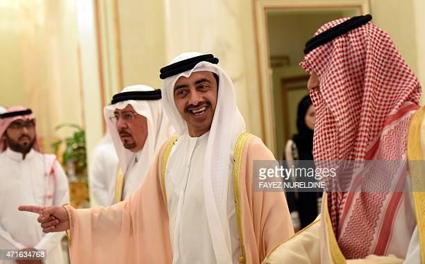 Emirati Foreign Minister Sheikh Abdullah bin Zayed alNahyan gestures next to Saudi deputy minister of Foreign Affairs Abdulaziz bin Abdullah before a...