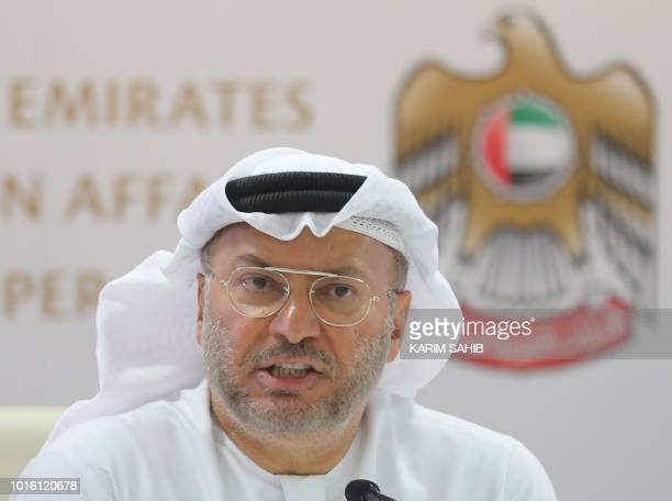 Emirati minister of state for foreign affairs Anwar Gargash speaks during a press conference in Dubai about the situation in Yemen on August 13 2018...