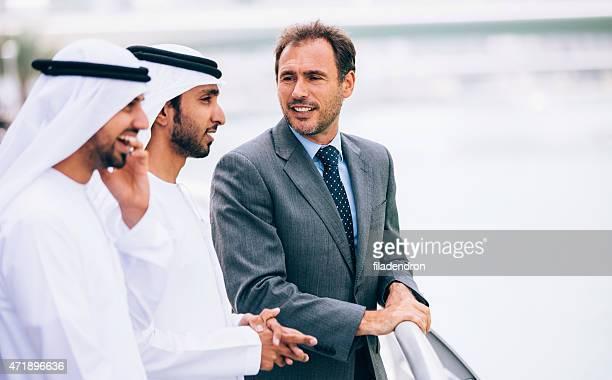 Emirati outdoor business meeting