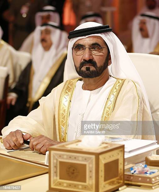 Emirati Prime Minister and Dubai ruler Sheikh Mohammed bin Rashed al-Maktoum attends the opening of the Arab League summit in the Qatari capital Doha...