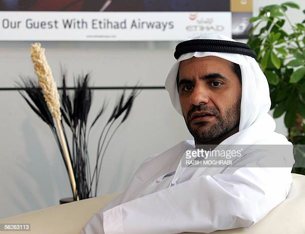 Emirati Sheikh Ahmed bin Seif alNahayan a prominent member of Abu Dhabi's ruling family and head of its civil aviation authority speaks to reporters...