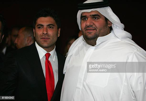 Emirati singer Hussein alJasmi poses with Lebanese singer Wael Kfoury as they attend the Murex d'Or award ceremony at the Casino du Liban in Jounieh...
