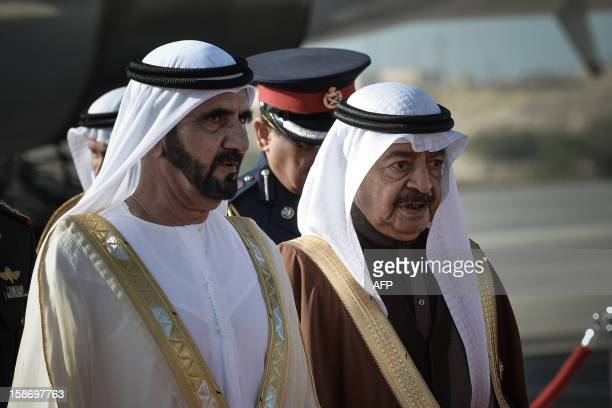 Emirati Vice President and Prime Minister Sheikh Mohammed bin Rashed alMaktoum arrives in the Bahraini capital of Manama on December 24 to attend the...
