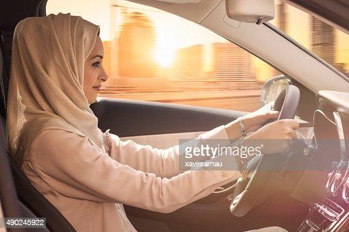 Emirati woman driving a car in Dubai