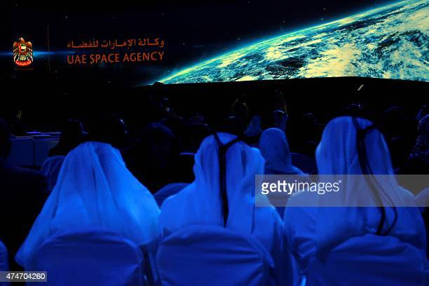 Emiratis attend the presentation of the UAE Space Agency's strategic frameworks on May 25 2015 at the National Exhibition Centre in Abu Dhabi The UAE...