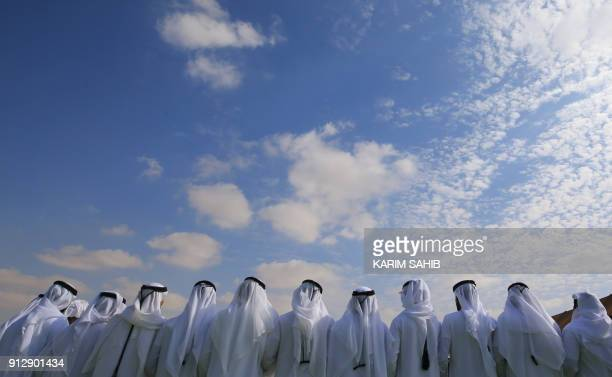 TOPSHOT Emiratis attend the Sheikh Sultan Bin Zayed alNahyan camel festival at the Shweihan racecourse in alAin on the outskirts of Abu Dhabi on...